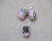 Rhodonite earrings and pendant set