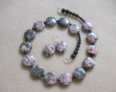 Rhodonite and black onyx set