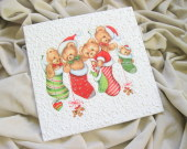 "Decoupage technique Christmas painting - ""Five little bears"""