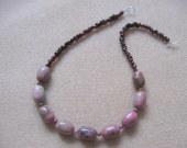 Rhodonite and garnet necklace