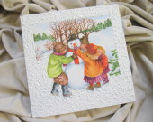 "Decoupage technique Christmas painting - ""Children and the snowman"""