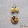 Honey jade, agate and freshwater pearls earrings and pendant set w