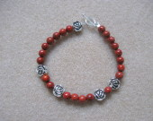 Sponge coral and tibetan silver bracelet