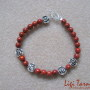 Sponge coral and tibetan silver bracelet w