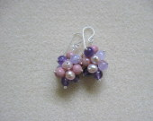 Amethyst, rhodonite and freshwater pearls cluster earrings