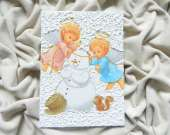 Christmas decoration - Two angels and a snowman
