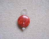 Coral and freshwater pearl pendant