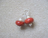 Coral and freshwater pearls earrings