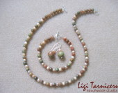 Autumn jasper and freshwater pearls set