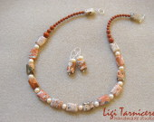 Brecciated jasper and freshwater pearls set