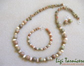 Autumn jasper and freshwater pearls set
