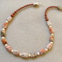 Brecciated jasper and freshwater pearls necklace