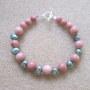 Rhodonite and freshwater pearls bracelet