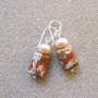 Brecciated jasper and freshwater pearls earrings