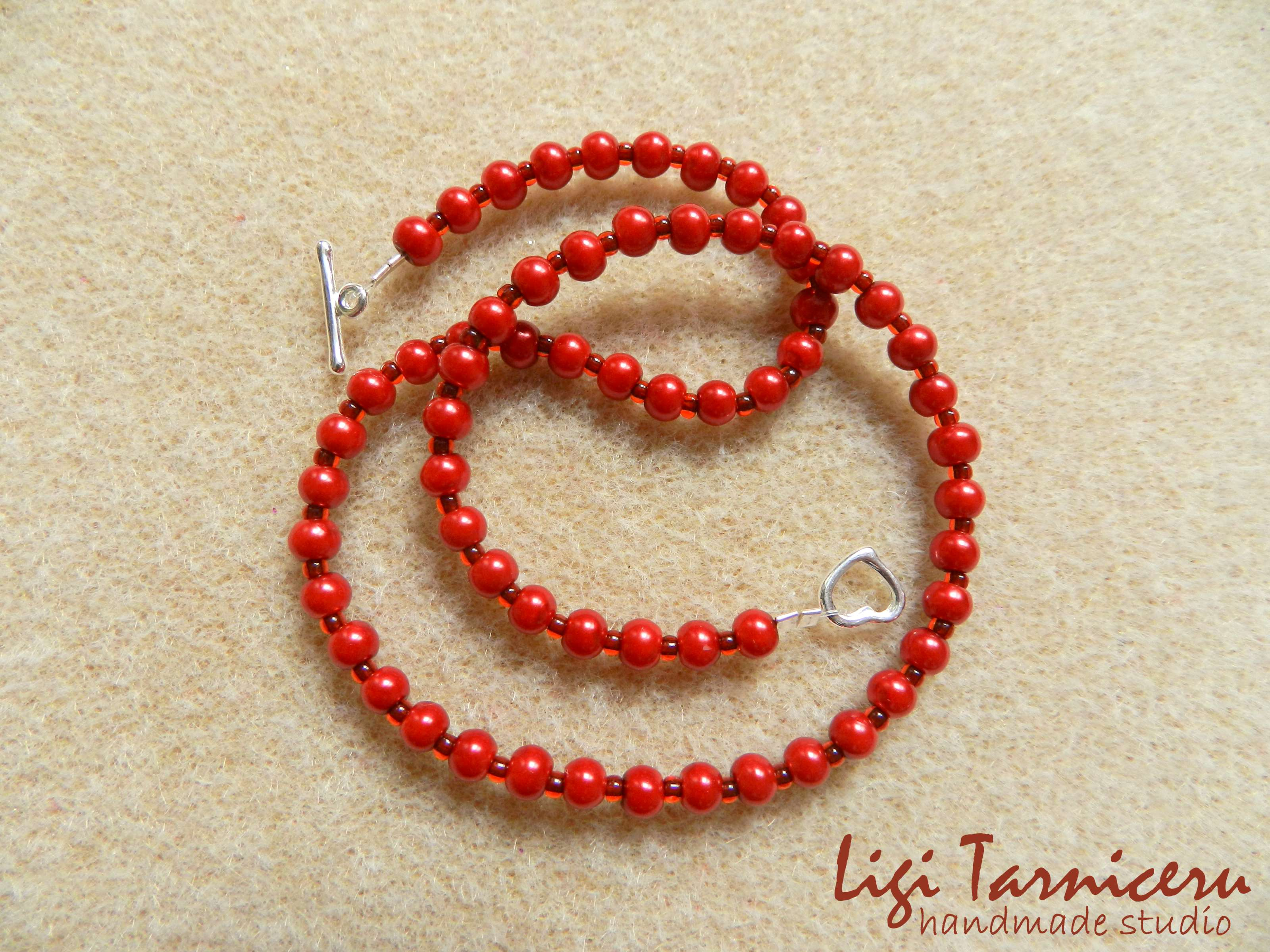 Acrylic pearls and toho seed beads necklace for girls