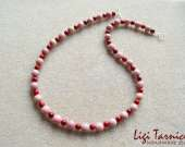 Rhodonite and bamboo coral necklace