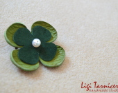 Leather and freshwater pearl brooch