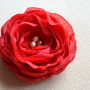 Red veil rose with freshwater pearls