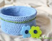 Crochet basket accessorised with acrylic  beads