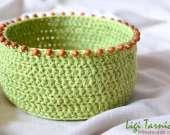 Crochet basket accessorised with bayong wood spheres