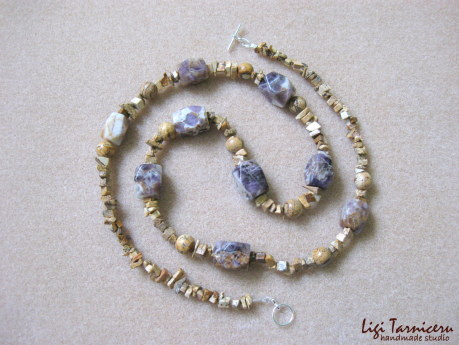 Picture jasper and amethyst necklace w