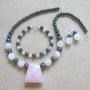 Rose quartz and hematite set
