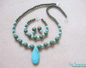 Turquoise and green jasper set with teardrop pendant w