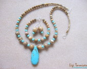 Turquoise and picture jasper set with teardrop pendant w