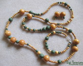Jackfruit wood and green jasper set w
