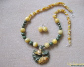 Honey jade, green and picasso jasper set w