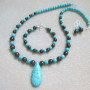 Turquoise and bronzite set with teardrop pendant