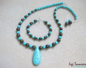 Turquoise and bronzite set with teardrop pendant w