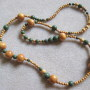 Jackfruit wood and green jasper necklace