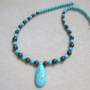 Turquoise and bronzite necklace with teardrop pendant