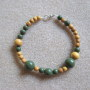Jackfruit wood and green jasper bracelet