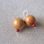 Jackfruit wood and bamboo coral earrings