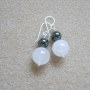 Rose quartz and hematite earrings
