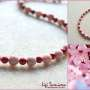 Rhodonite and bamboo coral necklace collage w