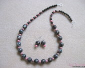 Rhodonite and bamboo coral set w