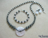 Rose quartz and hematite set w