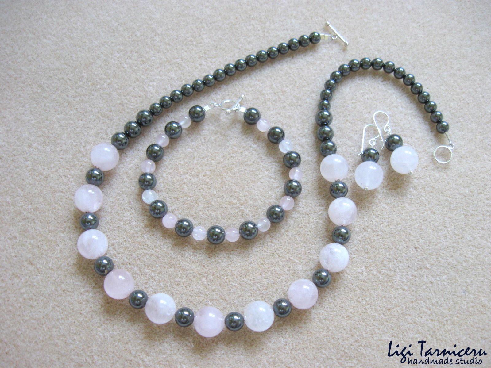 Rose quartz and hematite set w