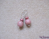 Rhodonite and freshwater pearls earrings w
