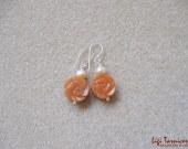 Jade roses and freshwater pearls earrings w