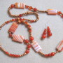 Agate, carnelian and bayong wood set