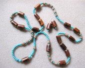Mahogany and turquoise set