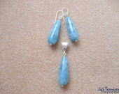 Angelite earrings and pendant set w