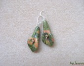Unakite flowers and sterling silver earrings