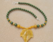 Green jasper, honey jade and sterling silver - necklace