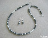 Hematite, freshwater pearls and sterling silver necklace and earrings set