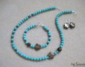 Turquoise, bronzite and sterling silver - necklace, bracelet and earrings set
